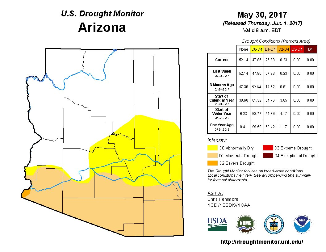 Map Of Arizona Only.Drought Map For Arizona Updated June 1 2017 Government Affairs